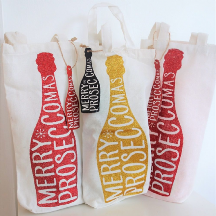 Merry Proseccomas Glitter bottle bag